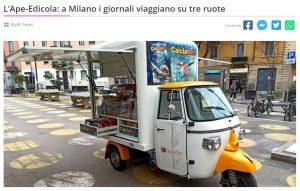 L'Ape-Edicola: a Milano i giornali viaggiano su tre ruote