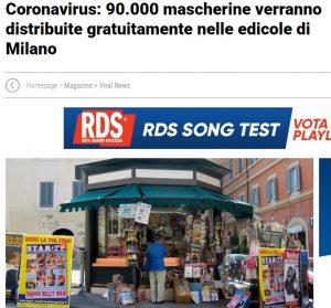 Coronavirus: 90.000 mascherine verranno distribuite gratuitamente nelle edicole di Milano