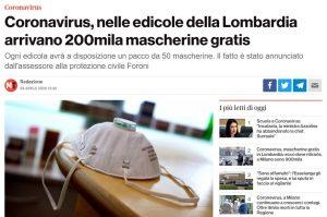 Coronavirus, nelle edicole della Lombardia arrivano 200mila mascherine gratis