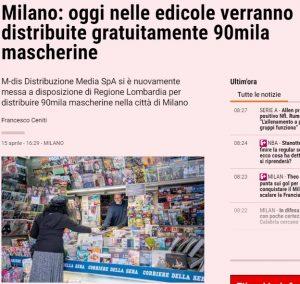 Milano: oggi nelle edicole verranno distribuite gratuitamente 90mila mascherine