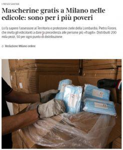 Mascherine gratis a Milano nelle edicole: sono per i più poveri